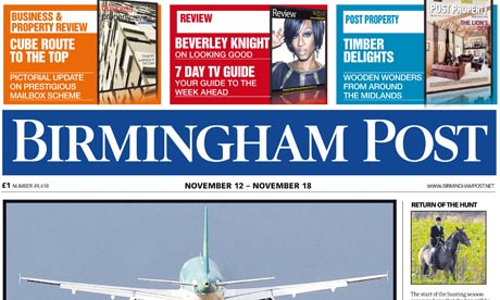 Front page of Birmingham Post