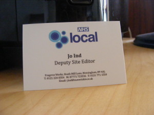 Business card for NHS local